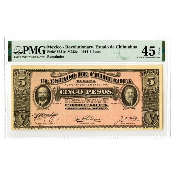 Estado de Chihuahua. 1914. Remainder Banknote Rarity, This is the Only Example Graded in the PMG Cen