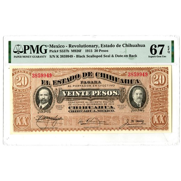 """Estado de Chihuahua, 1915 """"Top Pop"""" Issued Banknote"""