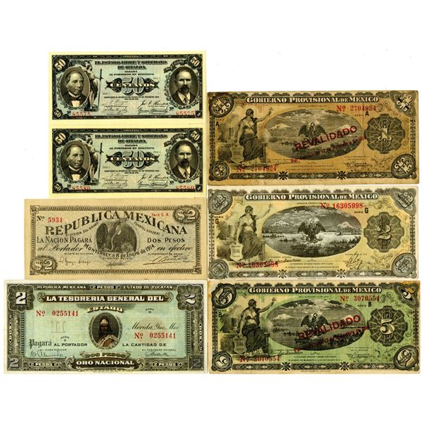 Group of 7 Assorted Mexico Banknotes, ca. 1910s