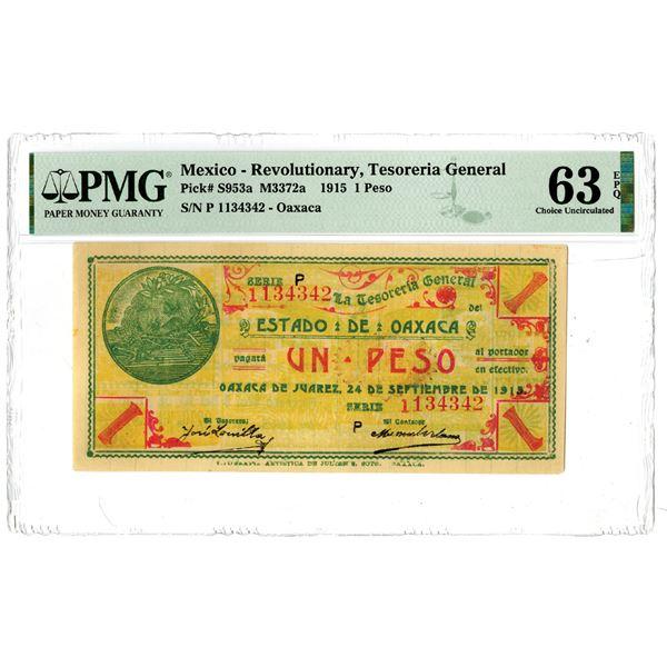 Tesoreria General Estado de Oaxaca, 1915 Issued Banknote