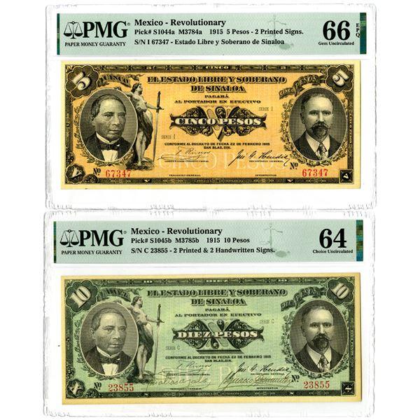 Estado Libre Y Soberano De Sinaloa, 1915 Issued Banknote Pair.