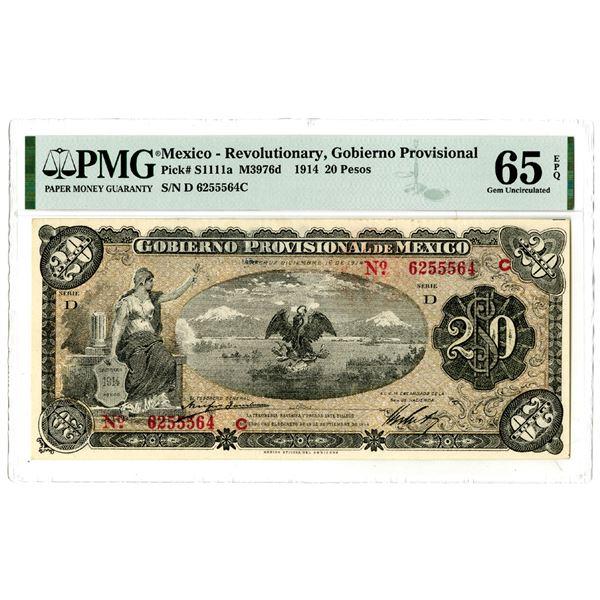 "Gobierno Provisional de Mexico, 1914 ""Top Pop"" Issued Banknote"