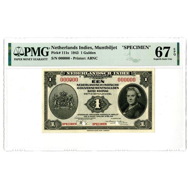 Dutch Government. 1943. 1 Gulden, Specimen Banknote.