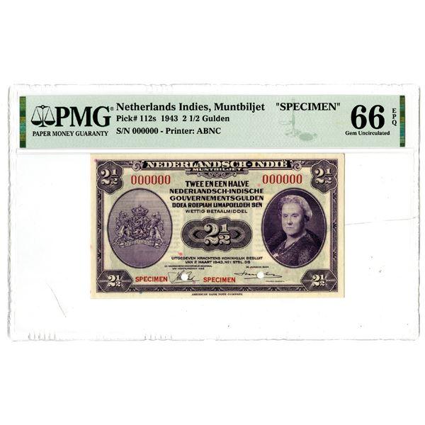 Dutch Government. 1943. 2 1/2 Gulden, Specimen Banknote.