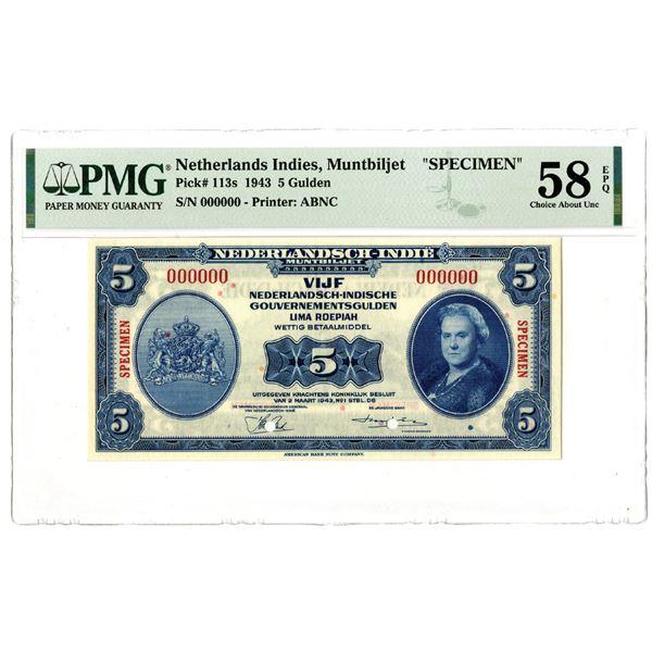 Dutch Government. 1943. 5 Gulden, Specimen Banknote.