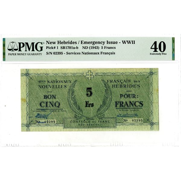 Services Nationaux Francais, ND (1943) Issued Banknote