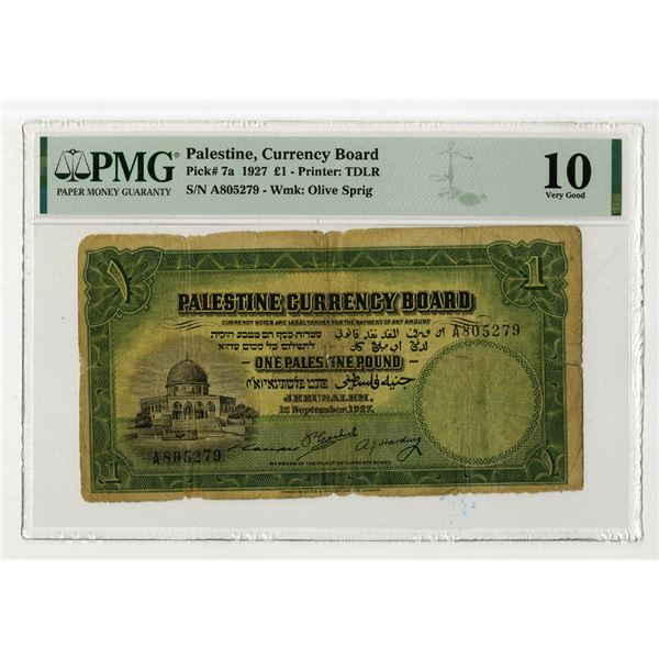 Palestine Currency Board, 1927 Issue Banknote.