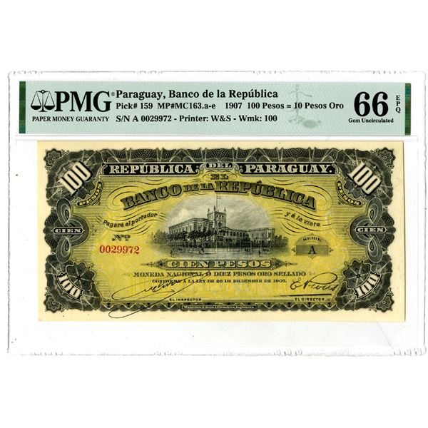 Banco de la Republica, 1907 Issued Banknote