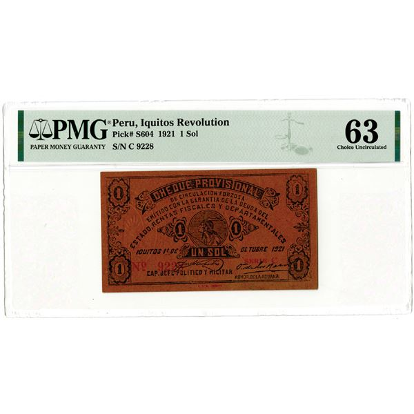 """Iquitos Revolution, 1921 """"Top Pop"""" and only Uncirculated Example In the PMG census."""