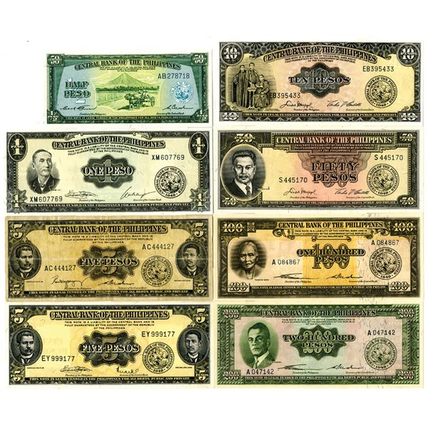 Central Bank of the Philippines, ca. 1940s Issued Banknote Group of 8