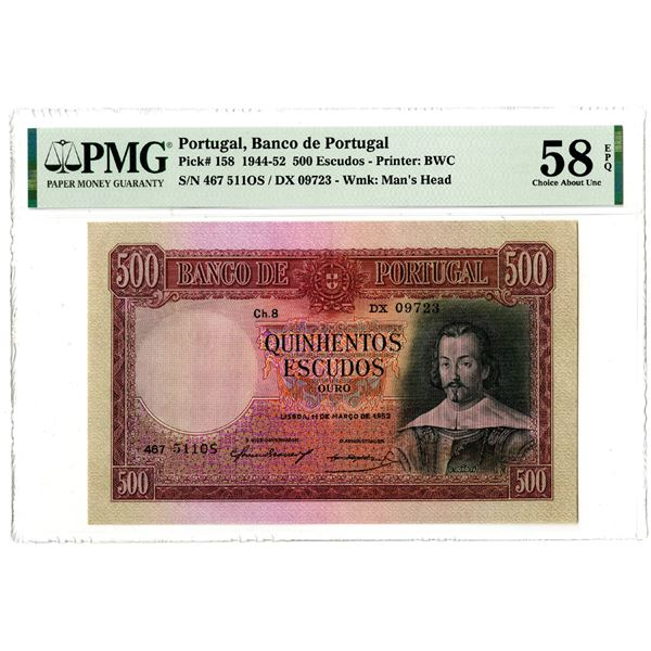 Banco de Portugal, 1952 Issued Banknote