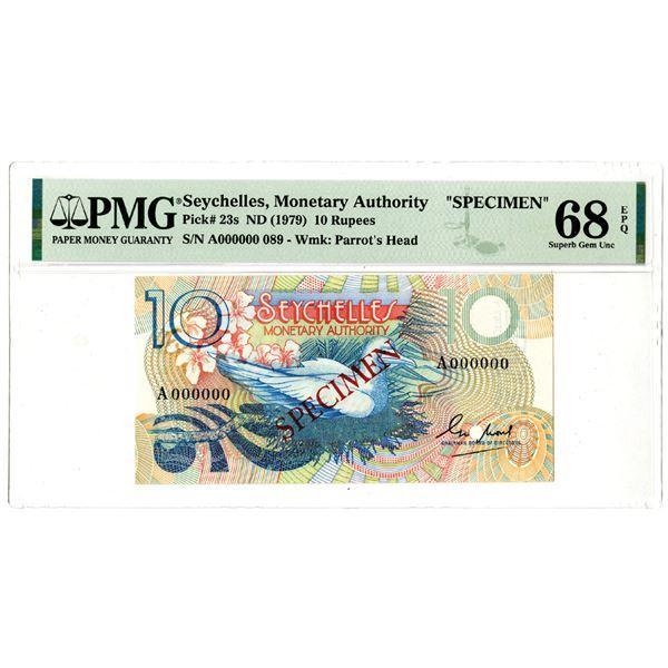 "Seychelles Monetary Authority, ND (1979) ""Top Pop"" Specimen Banknote"