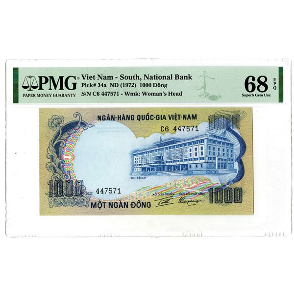 """South Viet Nam, National Bank. ND (1972). """"Top Pop"""" Issued Banknote."""