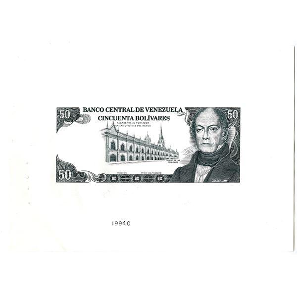 Banco Central De Venezuela, 1990-92 Progress Proof Banknote