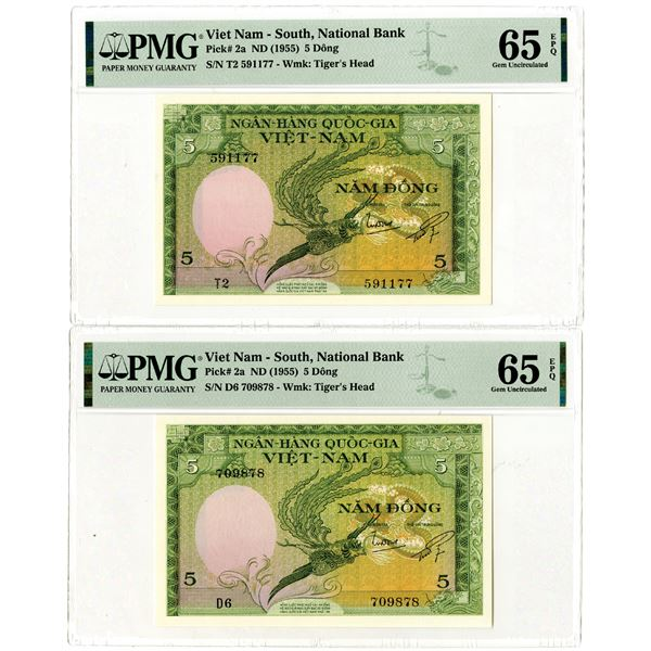 National Bank of Viet Nam, ND (1955) High Grade Issued Banknote Pair