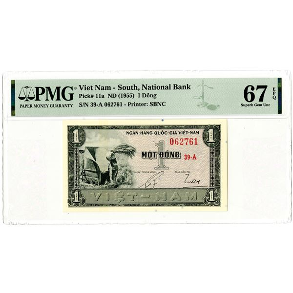 """National Bank of Viet Nam, ND (1955) """"Top Pop"""" Issued Banknote"""
