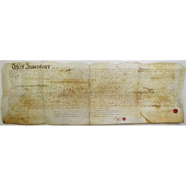 Pennsylvania Land Deed, 1753 Signed by Simon Mathews, One of the Founding Fathers of Chalfont, PA.