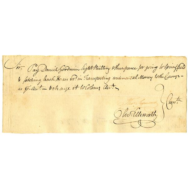 Colonial Connecticut, 1775 Promissory Note Signed by Thomas Seymour and Oliver Ellsworth