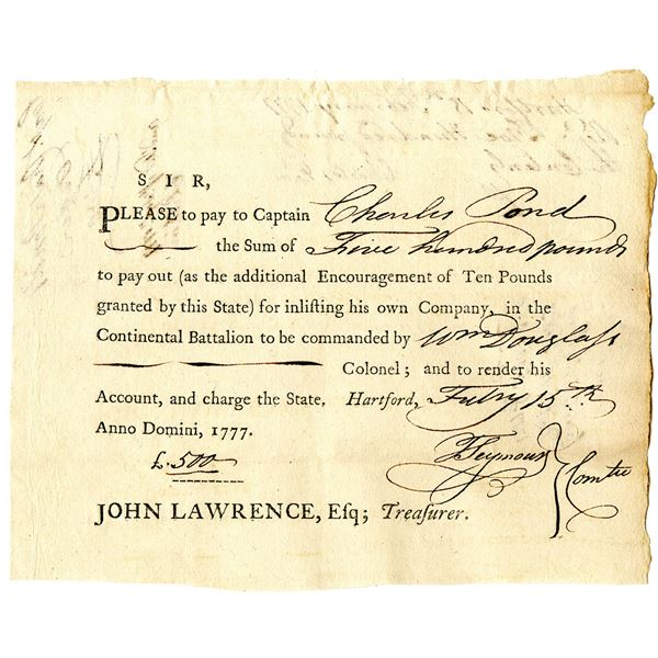 Continental Battalion, 1777 Promissory Note Issued to Charles Pond for Enlisting his Company in to t