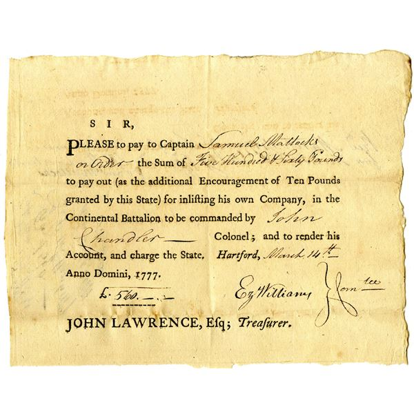 Continental Battalion, 1777 Promissory Note Issued to Samuel Mattocks for Enlisting his Company in t