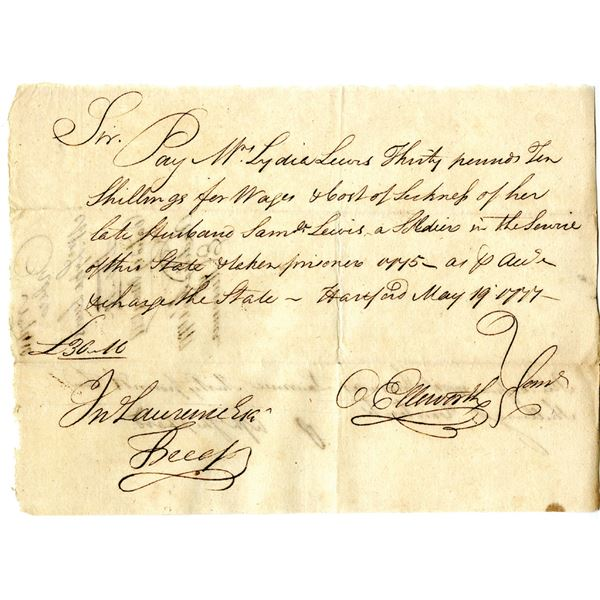 Revolutionary War Connecticut, 1777 Promissory Note for a Late Husband's Illness and When Taken Pris