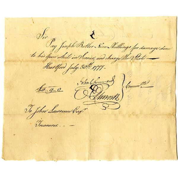 Revolutionary War Connecticut, 1777 Promissory Note For Damage to Soldiers Gun, Signed by Oliver Ell
