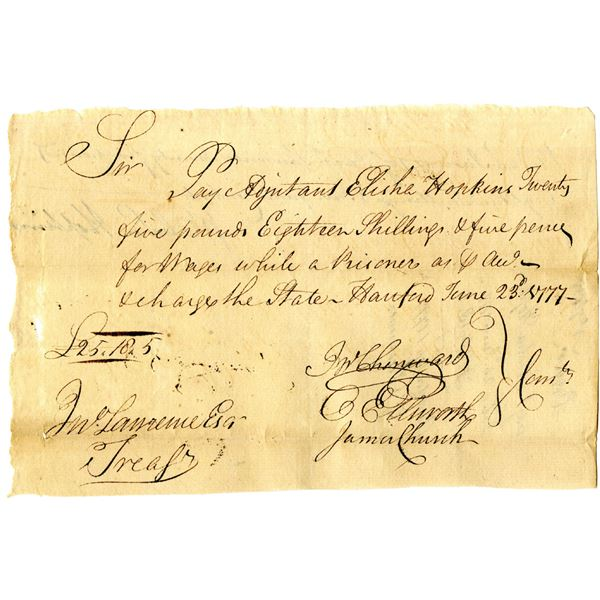 Revolutionary War Connecticut, 1777 Promissory Note for Wages of Soldier While Prisoner of War.