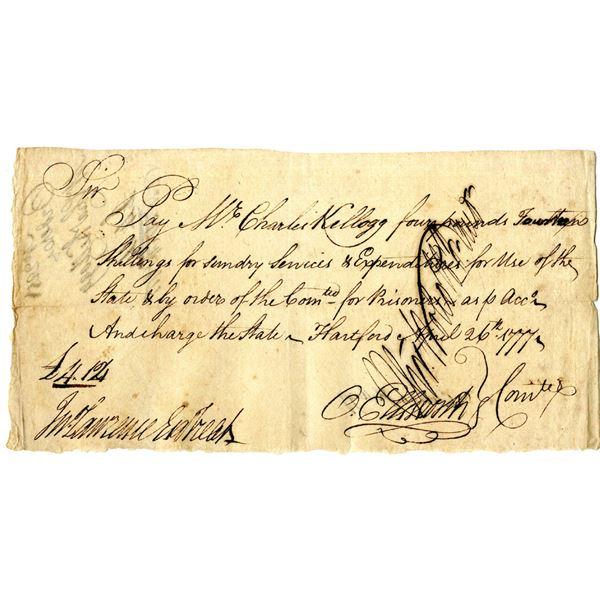 Revolutionary War, 1777 Issued Promissory Note Signed by Oliver Ellsworth, Sr., Signer of the Declar