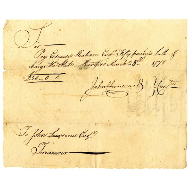 Revolutionary War Connecticut, 1778 Promissory Note