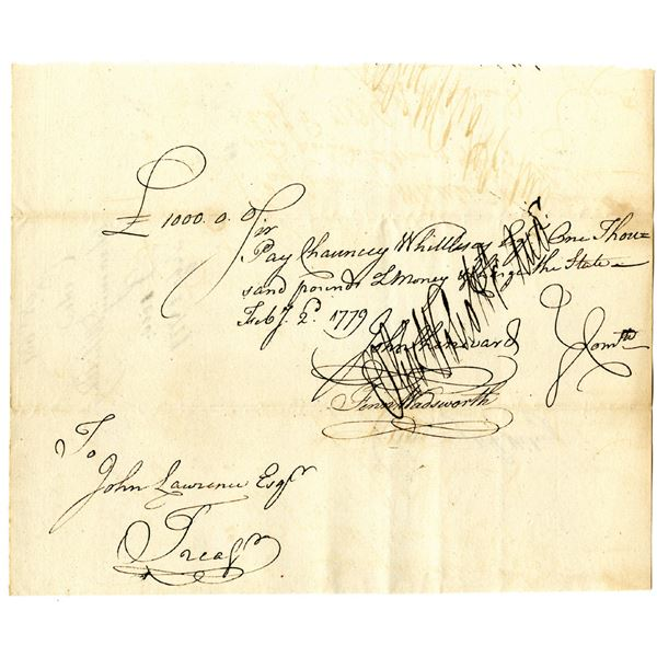 Revolutionary War Connecticut, 1779 £1000 Promissory Note Signed by Oliver Wolcott, Sr., Signer of t