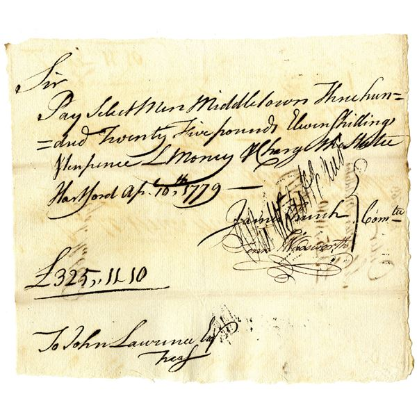 Revolutionary War Promissory Note, 1779 Payment Warrant Signed by Jedidiah Huntington, Revolutionary