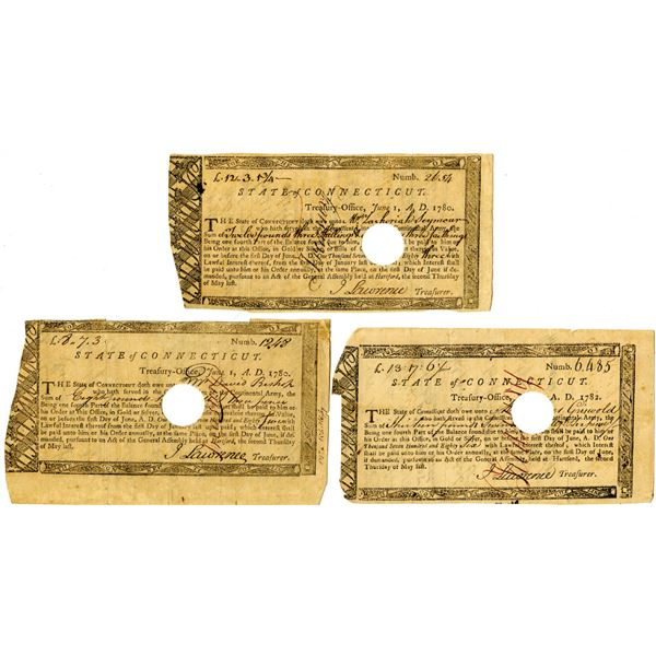 """State of Connecticut, 1780-82 Treasury Office """"Continental Army"""" Payment Trio"""