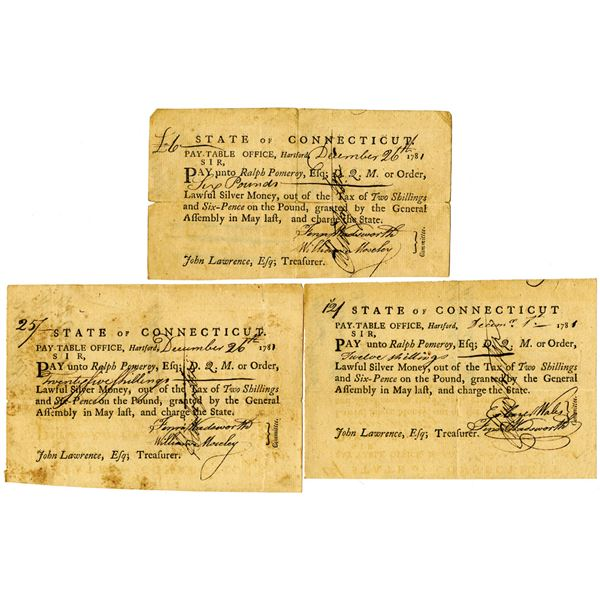 State of Connecticut, Pay-Table Office, 1781 Tax Trio Signed by Jedidiah Huntington, Revolutionary W