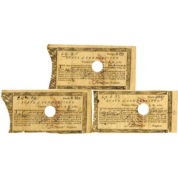 """State of Connecticut, 1782 Treasury Office """"Continental Army"""" Payment Trio"""