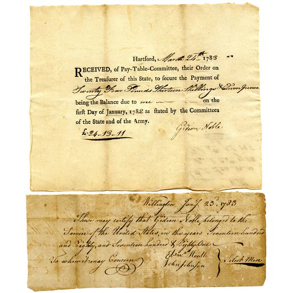 Revolutionary War Connecticut, 1783 Matching Issued Promissory Note and Certification Pair