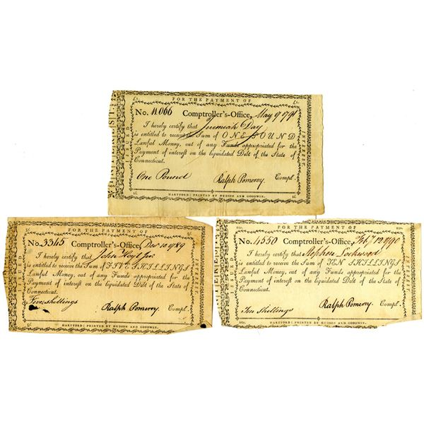 Connecticut Comptroller's Office, 1789-91 Issued Payment Trio