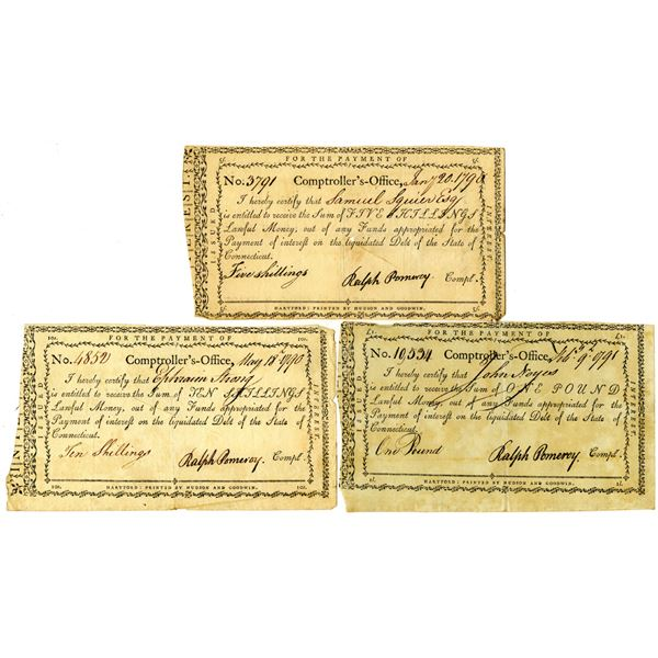Connecticut Comptroller's Office, 1790-91 Issued Payment Trio