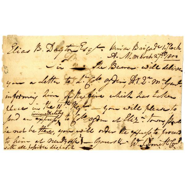 Handwritten Letter from William S. Smith to Elias B. Dayton, 1800