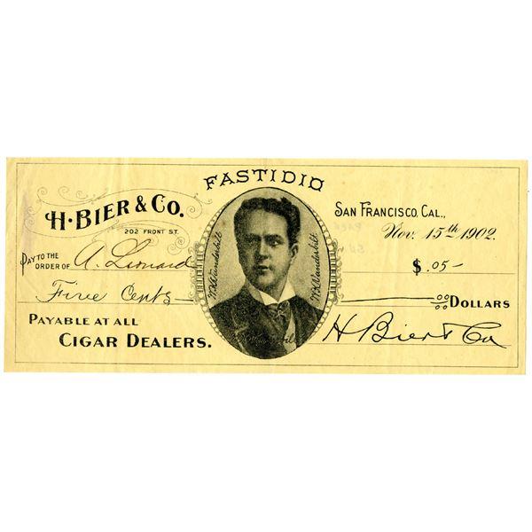 "H. Bier & Co., 1902 ""Fastidio"" Cigar Dealer Scrip Note"