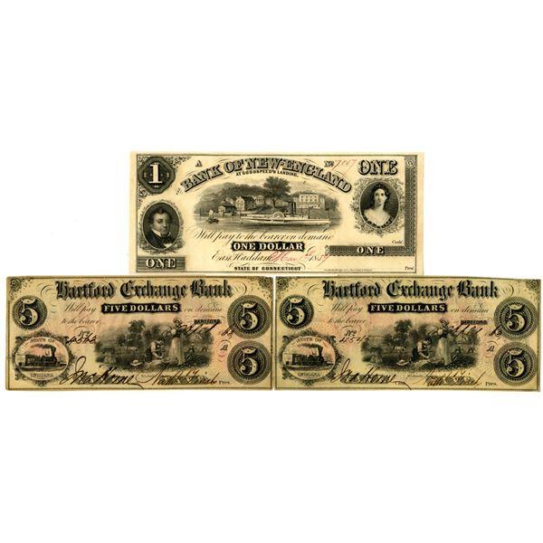Connecticut Obsolete Banknote Trio, ca. 1850-60s