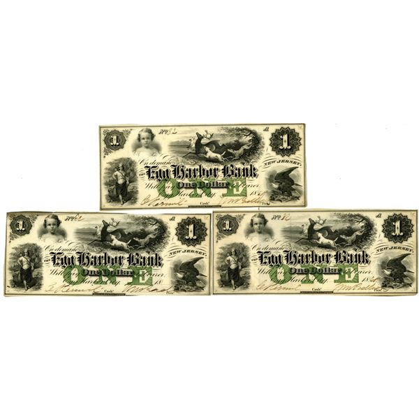 Egg Harbor Bank, ca. 1860s Issued Banknote Trio