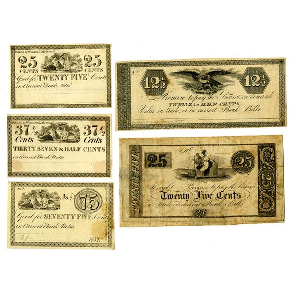 Scrip Note Quartet, ca. 1837 Remainder Obsolete Scrip Note Quintet
