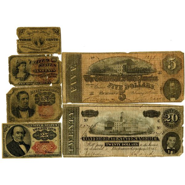 United States Fractional Currency and Confederate States of America, 1860's Issued Banknote Group of