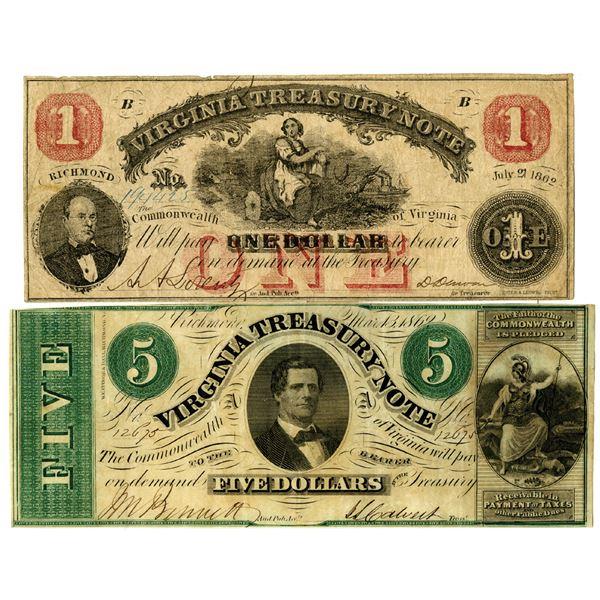 Virginia Treasury Note Pair, 1862