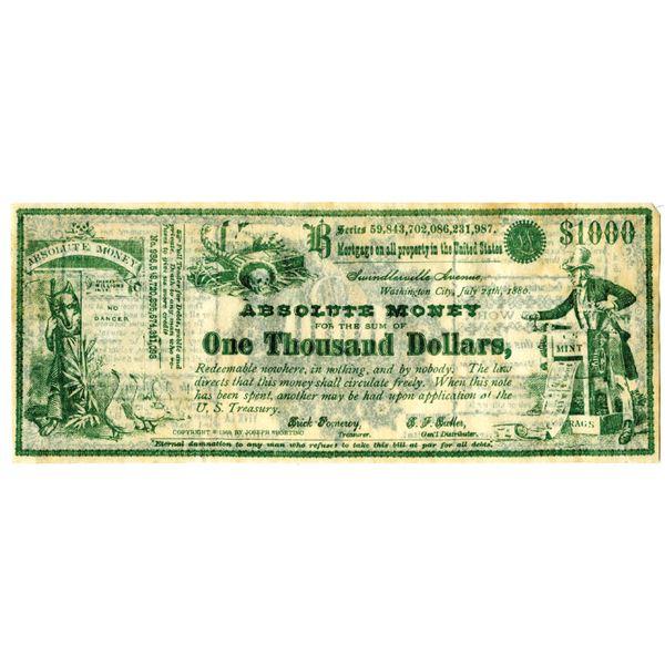 Absolute Money Satirical Banknote, 1880 (Reprinted in 1969)