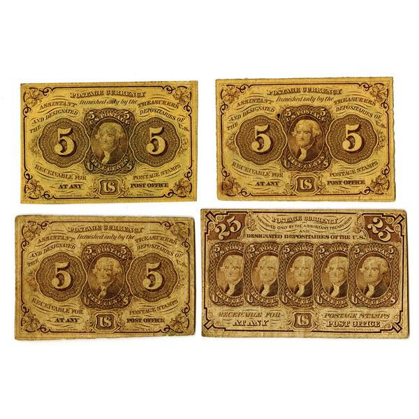 U.S. Fractional Postage Currency Quintet, ca. 1860-70s