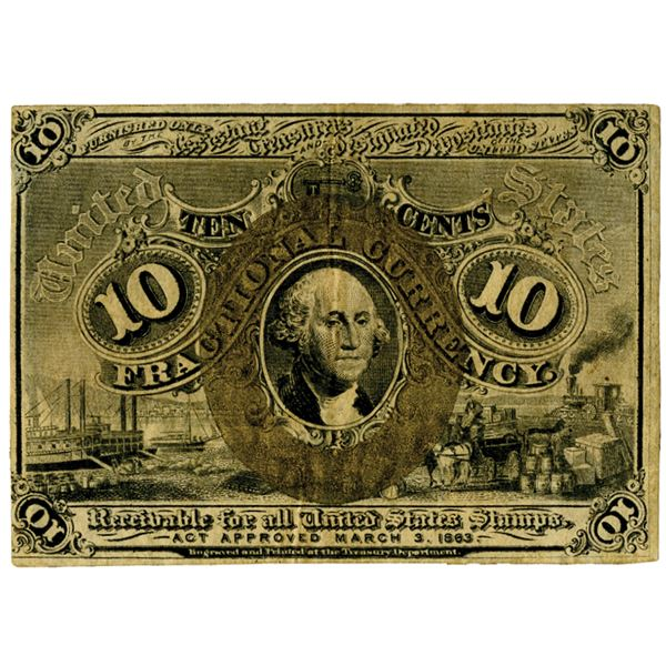 10 Cents, Second issue Fractional Currency Specimen