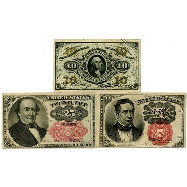 United States Fractional Currency Trio, ca. 1860-1870s