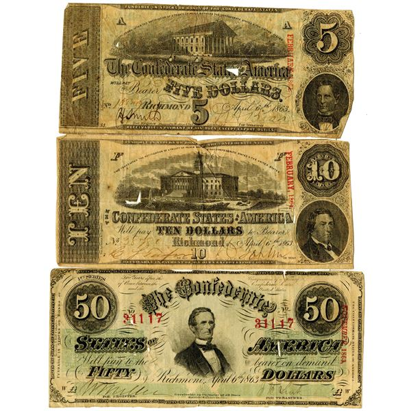 Confederate States of America, 1863 Issued Banknote Trio