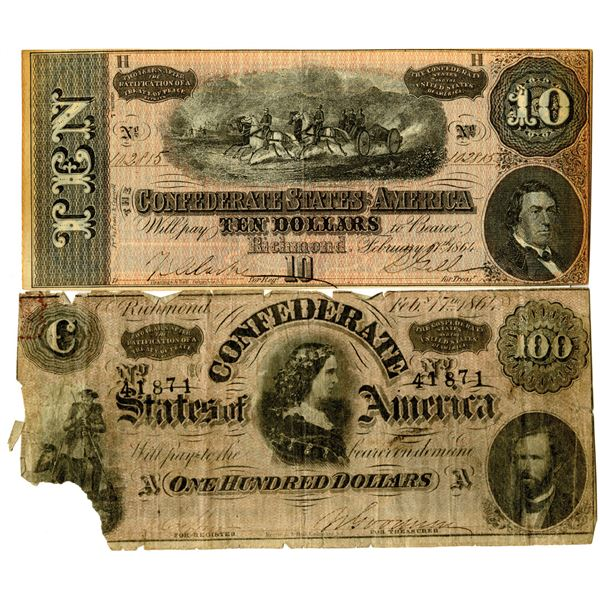 CSA, 1864 Issued Banknote Pair